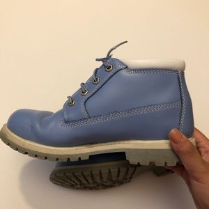 timberland nellie blue leather boots womens 7.5!